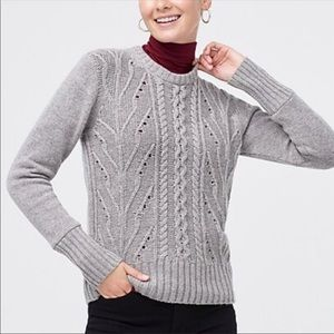 J crew gray Pointelle cable-front pullover sweater